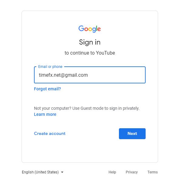 Đăng nhập bằng tài khoản Gmail