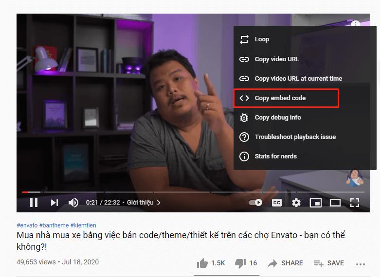 lấy mã nhúng video từ youtube