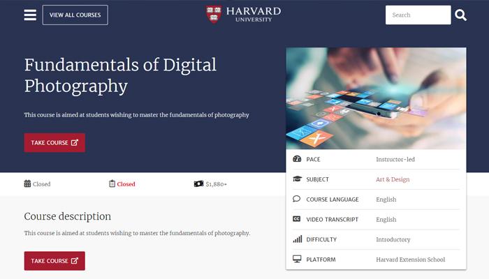 Khóa học nhiếp ảnh trực tuyến - Harvard's Digital Photography